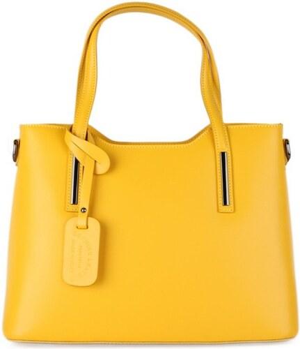 55efefa181f96 Talianske luxusné kožené kabelky do práce Vera Pelle sýtožlté Carina veľká  A4, NEW