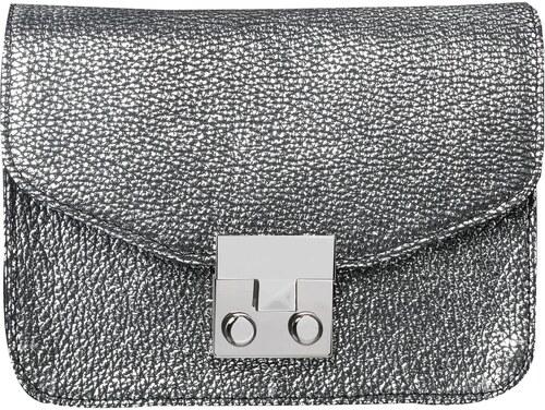 ae5c40daca42a Wojewodzic extravagantná luxusná kožená kabelka malá strieborná 31716/ORO13
