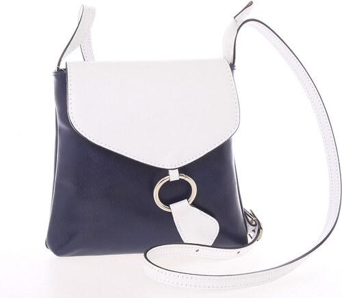 e70bbc47ced43 Dámska kožená crossbody kabelka modro-biela - ItalY Saffie modrá ...