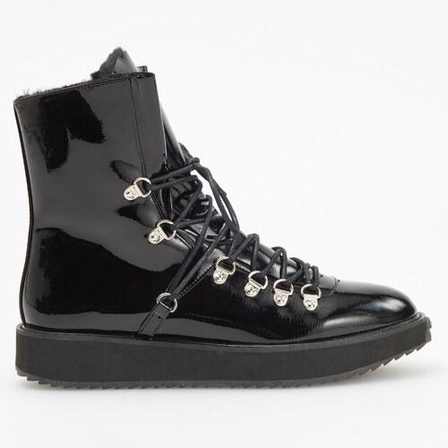 c96207a5ffc5a Reserved - Zateplené topánky s hrubou podrážkou - Čierna - Glami.sk