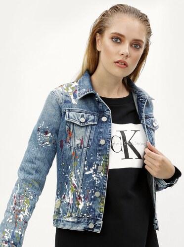 1ccff6237 Modrá dámska rifľová bunda s potlačou Calvin Klein Jeans - Glami.sk