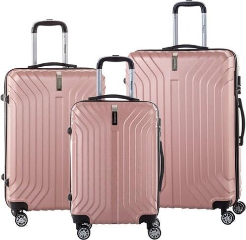 fca3842c35e43 Sada 3 svetloružových cestovných kufrov na kolieskách so zámkom SINEQUANONE