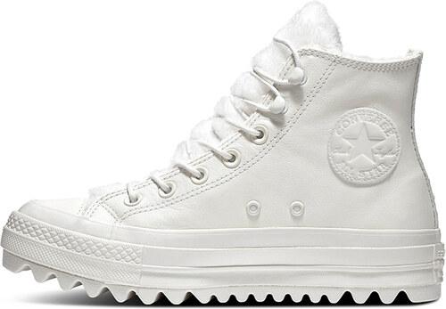 9461c737bf66b Converse Dámske biele kožené vysoké tenisky Chuck Taylor All Star Lift  Ripple
