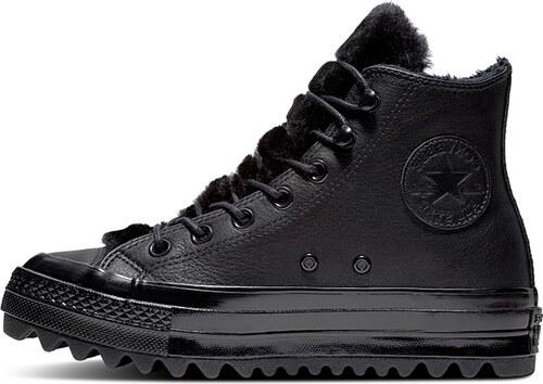 6b29218b5f7f4 Converse Dámske čierne vysoké kožené tenisky Chuck Taylor All Star Lift  Ripple
