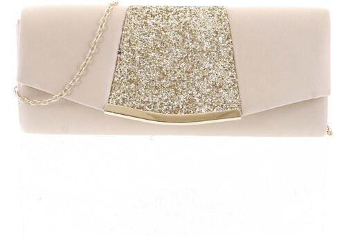 9f4b15c01 Noblesná dámska saténová listová kabelka zlatá - Delami JY7073 zlatá ...