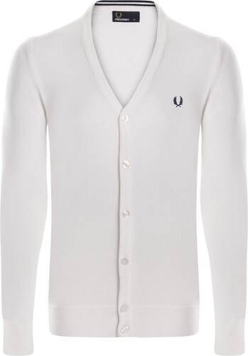 f3e90906ef426 Biely sveter na gombíky z prémiovej bavlny od Fred Perry - Glami.sk