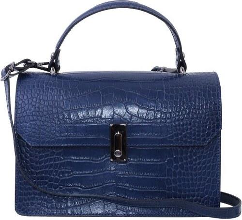 213a01005 TALIANSKE Talianska dámska kožená kabelka do ruky modrá Izabela blu genuine  leather
