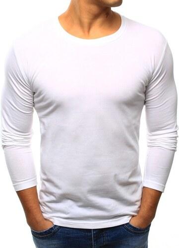 ac03646b08f9d BestLook Pánske jednofarebné tričko s dlhým rukávom (lx0415) - biele ...