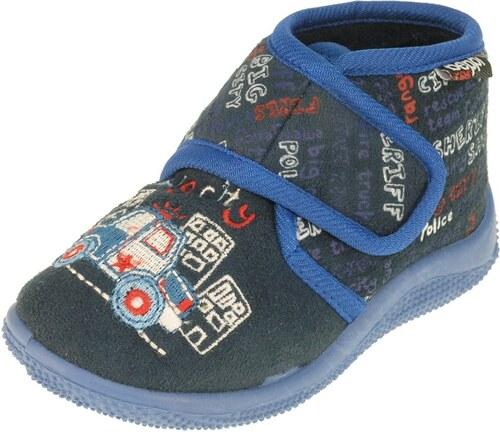 b73e37b1b2202 Beppi Chlapčenské členkové papučky s autom - modré - Glami.sk