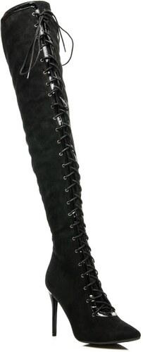 acc6cf3e5 Exkluzívne čierne dámske čižmy s trendy viazaním - Glami.sk