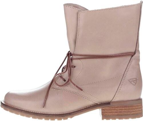 e40306b3ee7a0 Béžové kožené topánky na šnurovanie Tamaris - Glami.sk