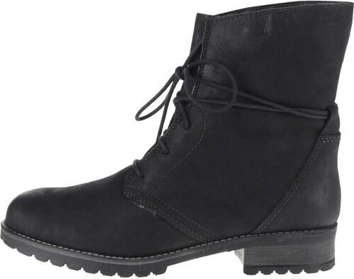 ac86e05cfa977 Čierne kožené členkové šnurovacie topánky s umelou kožušinou Tamaris ...