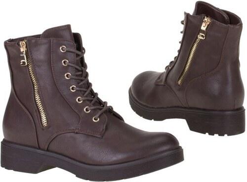 4d1cec328bbdc Dámske členkové šnurovacie topánky s ladnými krivkami - farba hnedá ...