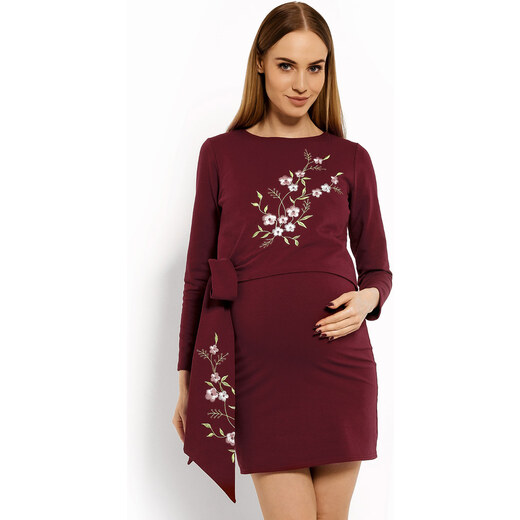 bdfaf7ad4 Peekaboo Bordové úpletové šaty s kvetinkami na dojčenie PKB1642 - Glami.sk