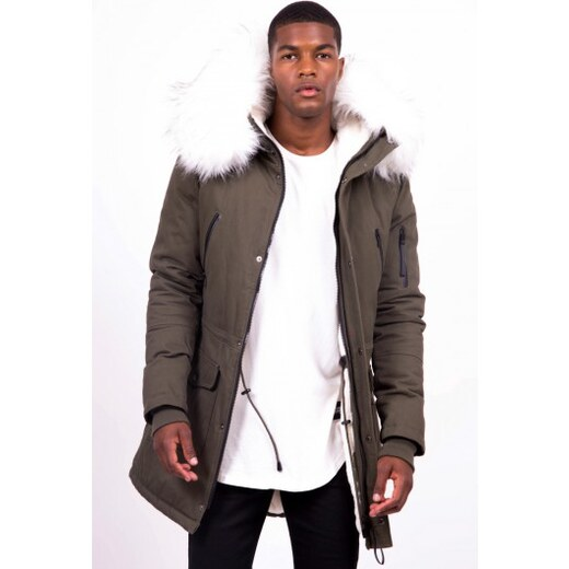 60bb8fc49 Pánska zimná bunda Sixth June big fur parka khaki white - Glami.sk