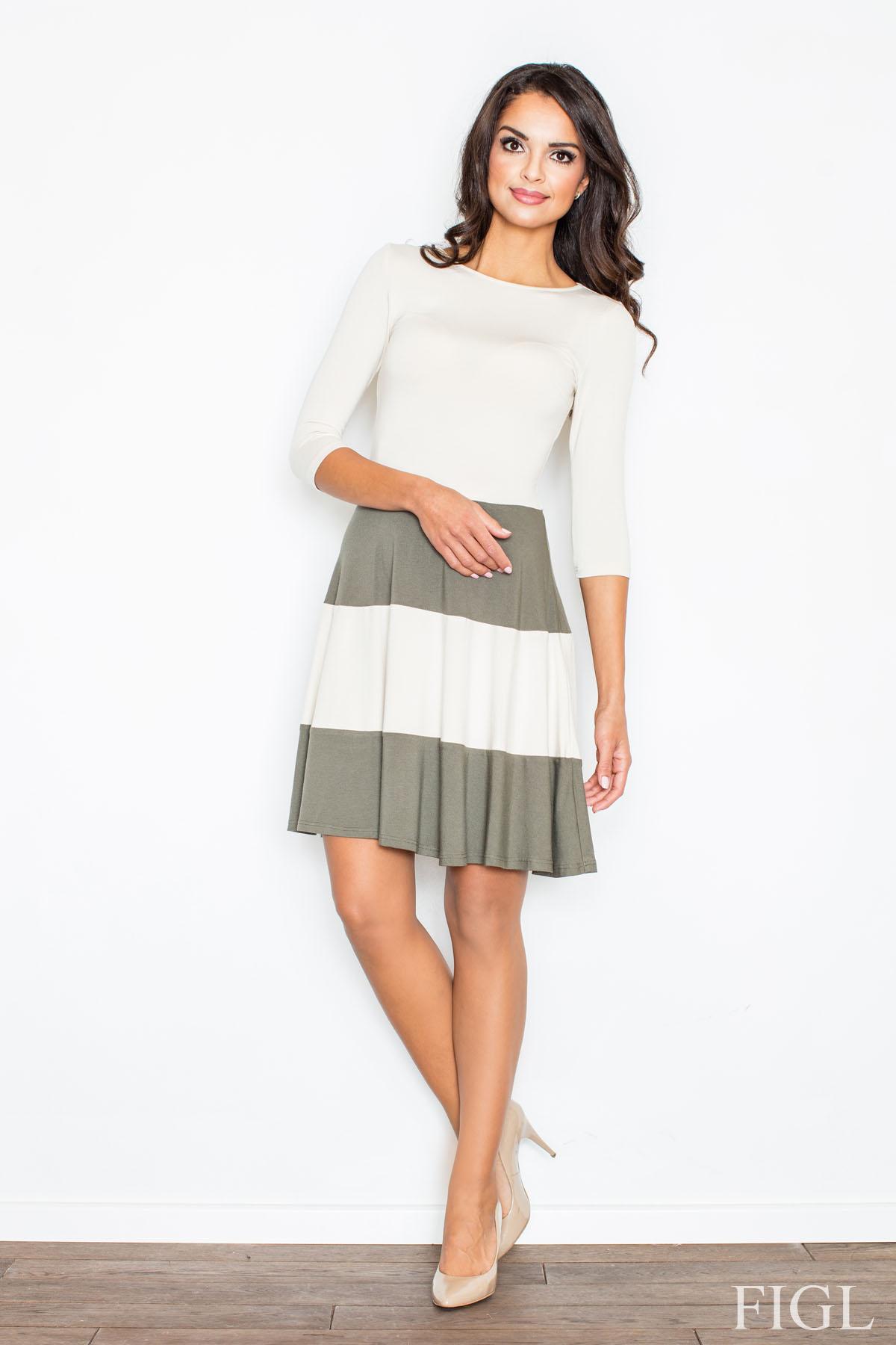 87b625b2a FIGL Dámske šaty s rozšírenou sukňou a s olivovými pruhmi M279 ...